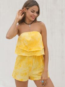 Tie Dye Tiered Layer Tube Playsuit