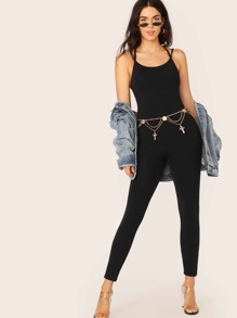 Strappy Back Form Fitted Jumpsuit