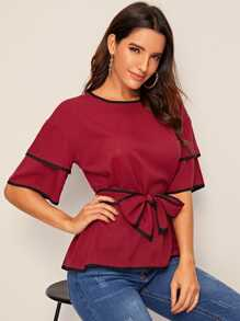 Piping Trim Belted Blouse