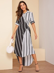 Striped Print Knot-side Asymmetrical Hem Dress
