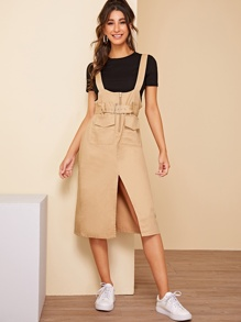 Dual Pocket Detail Belted Split-front Overall Dress
