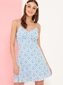 Chain Print Strappy Sundress