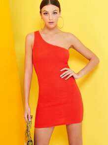 Neon One Shoulder Rib-knit Dress