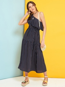 One Shoulder Flounce Foldover Striped Dress