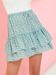 Ditsy Floral Drawstring Waist Tiered Flippy Skirt