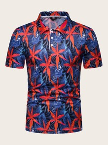 Men Tropical Print Hawaiian Polo Shirt