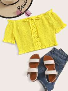 Neon Yellow Off The Shoulder Lace Up Shirred Blouse