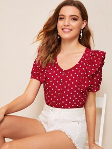 Polka Dot Button Front Ruffle Trim Blouse
