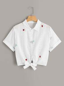 Roll Up Sleeve Eyelet Embroidery Blouse