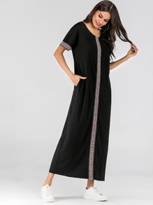 Contrast Embroidery Tape Maxi Dress