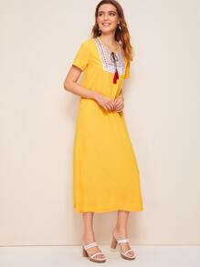 Tie Neck Embroidery Dress