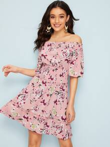 Allover Floral Print Lettuce Trim Shirred Waist Dress