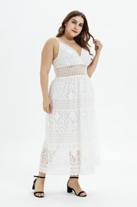 Plus Lace Shirred Cami Dress