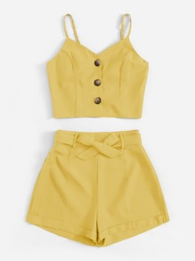 Plus Button Front Cami Top With Belted Shorts