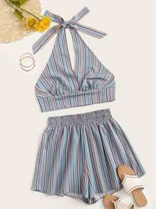Plus Striped Halter Top With Shorts