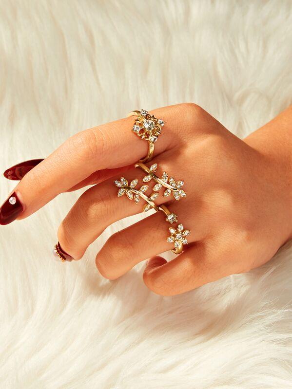 9aed728b11 Rhinestone Decor Flower & Leaf Design Ring 3pcs | SHEIN