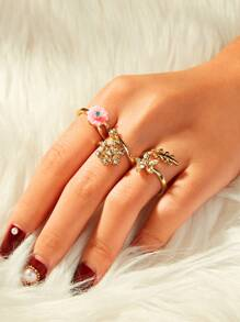 Rhinestone Decor Flower & Leaf Design Ring 3pcs