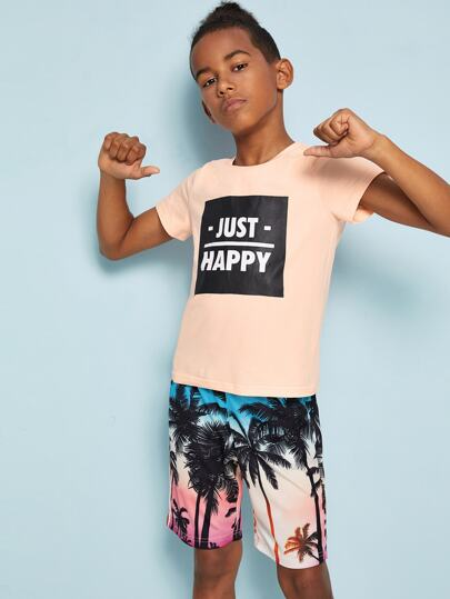 Boys Letter Tee & Coconut Tree Shorts Set