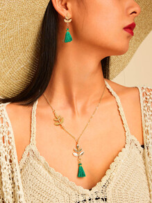 Leaf Tassel Pendant Necklace & Drop Earring 3pcs