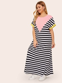 Plus Color-block Striped Maxi Tunic Dress
