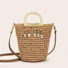 Shell Embellished Woven Satchels Bag