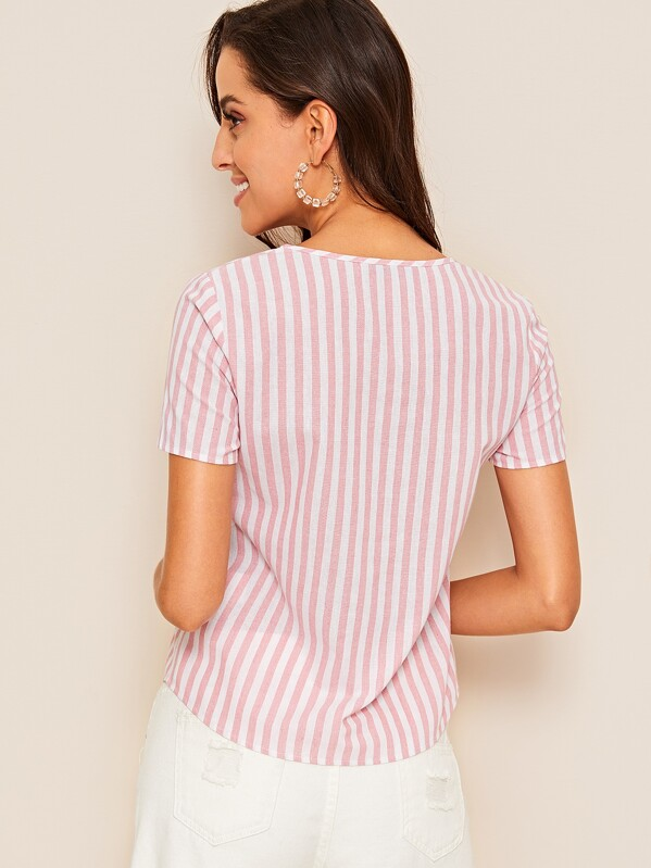 a8e1d96b96ec Single Pocket Button Up Striped Blouse   SHEIN IN