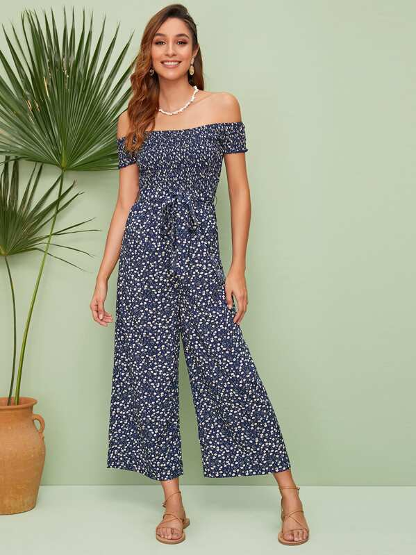 e6f90792c91 Ditsy Floral Shirred Belted Bardot Palazzo Jumpsuit | SHEIN UK