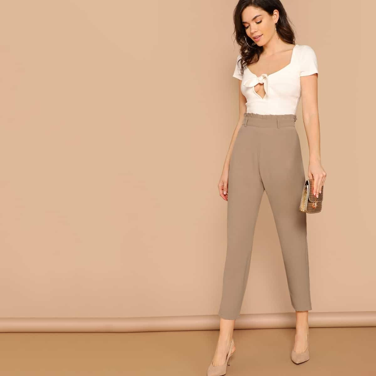 SHEIN coupon: Paperbag Waist Solid Tapered Pants