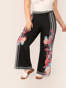 Plus Striped & Floral Print Wide Leg Pants