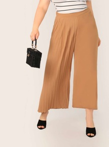 Plus Wide Leg Pleated Panel Pants
