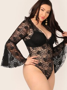 Plus Bell Sleeve Sheer Lace Bodysuit Without Bra