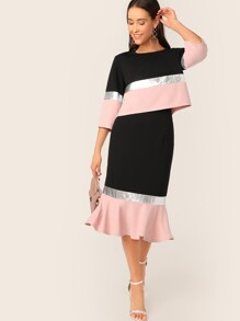 Metallic Panel Colorblock Top and Fishtail Hem Skirt Set