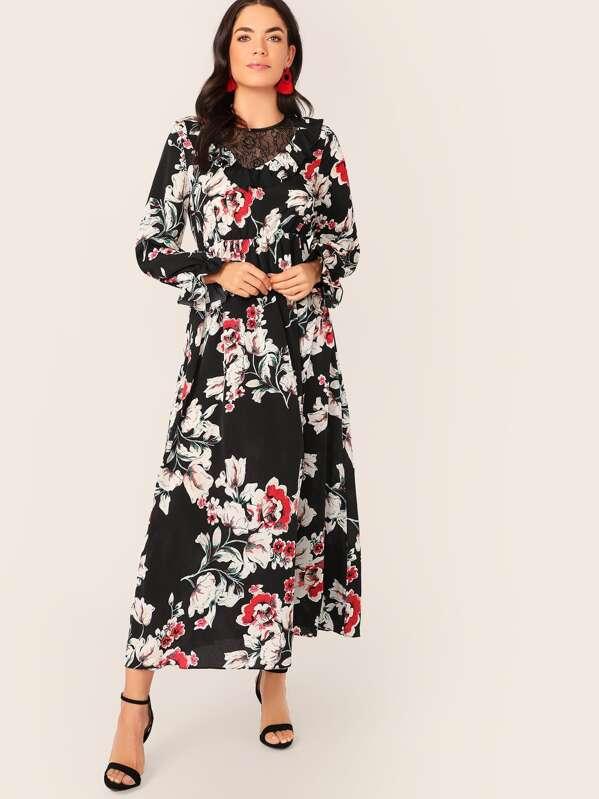 e25456c116 Floral Print Lace Insert Ruffle Cuff Dress | SHEIN