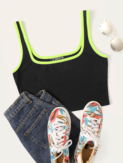 Plus Neon Contrast Binding Crop Tank Top