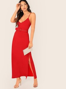 Split Side Buckle Belted Slip Dress