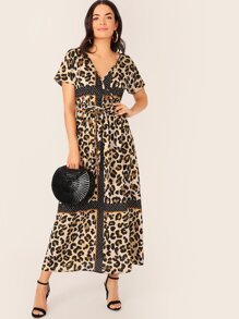 Cut-and-Sew Wrap Belted Leopard Dress