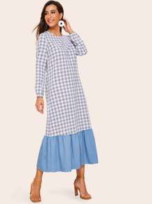 Solid Flounce Hem Tartan Plaid Dress