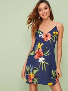 Double V-Neck Floral Print Cami Dress