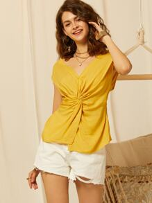 SBetro V Neck Twist Front Solid Top
