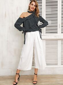 Simplee Polka-dot Print Asymmetrical Neck Tied Cuff Top