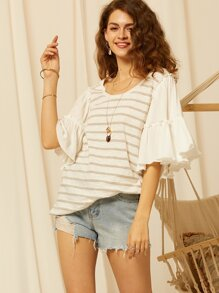SBetro Exaggerated Ruffle Sleeve Striped Top