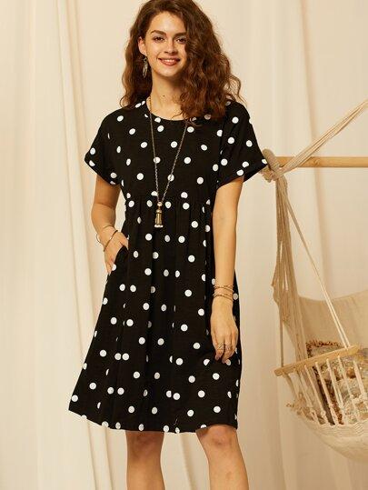 a3a368f5f65b SBetro Polka-dot Print Slant Pocket T-shirt Dress