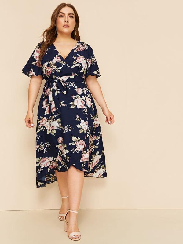 fb5f403c90 Plus Floral Print Wrap Belted Dress