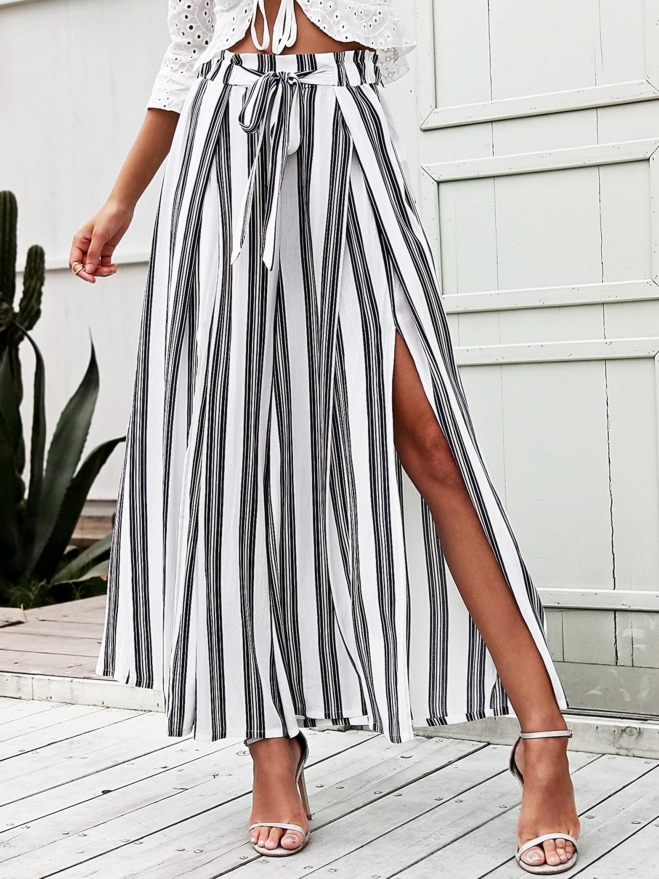 Split Thigh Tie Waist Striped Wide Leg Pants thumbnail