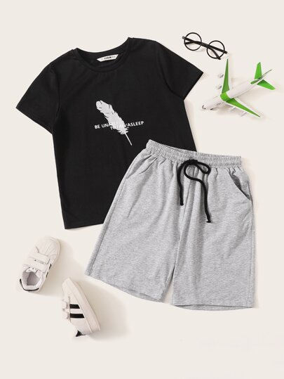 Boys Feather & Slogan Print Top & Shorts PJ Set