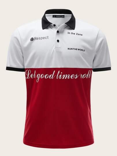 eef5b0232 Men Slogan Print Colorblock Polo Shirt