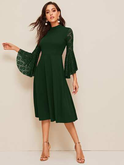 Mock Neck Bell Lace Sleeve Solid Dress
