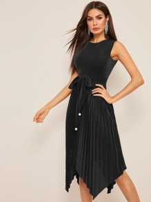 Pearl Detail Pleated Belted Glitter Dress