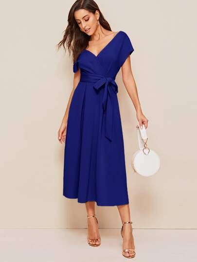 Surplice Wrap Solid Belted Dress