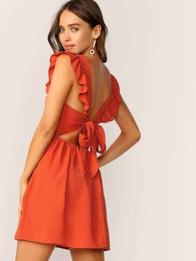 67a5abf4320cb SHEIN Ruffle Trim Tie Back Plicated Detail Dress. Ruffle Trim Tie Back  Plicated Detail Dress